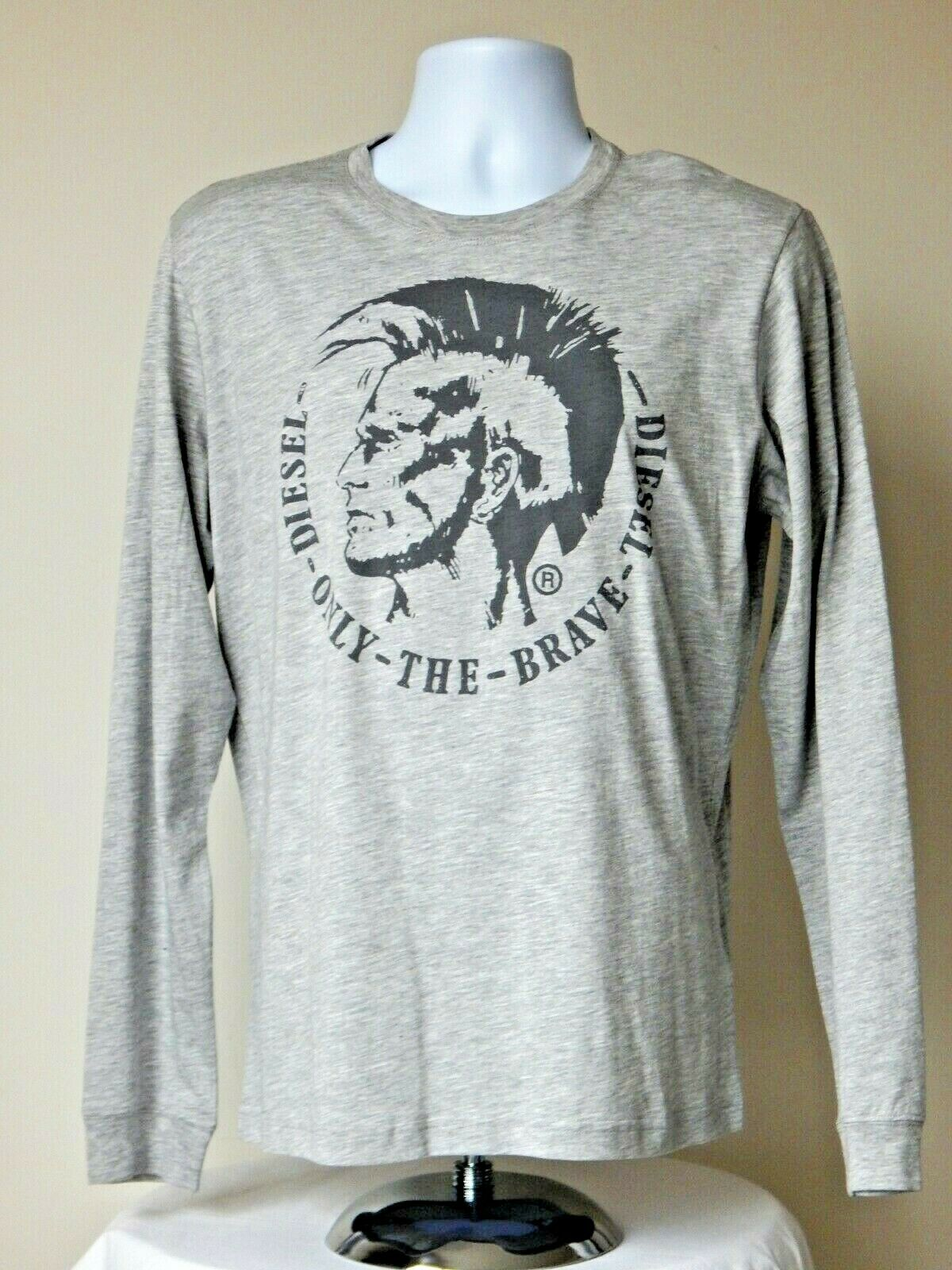NWT DIESEL T-DIEGO-LONG ONLY THE BRAVE GRAPHIC COTTON LIGHT GREY LARGE T SHIRT