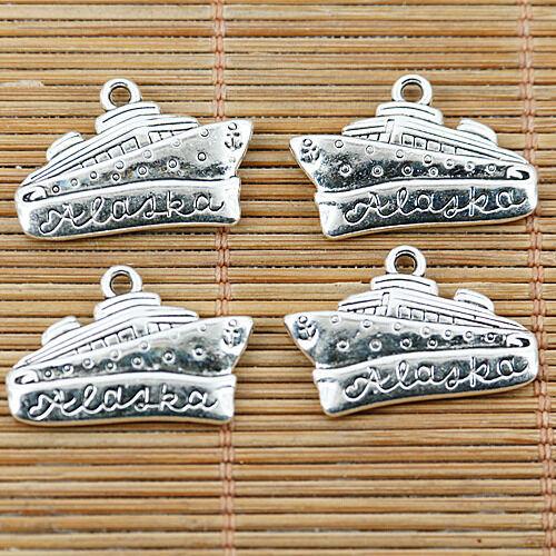 Tibetan Silver Color 2 faces navire design Charms Pendentifs 6pcs EF1483