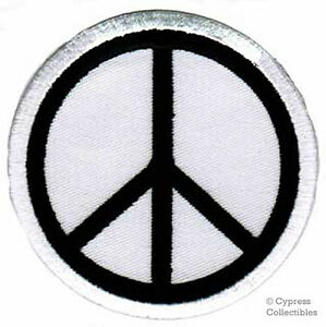 PEACE-SIGN-iron-on-patch-WOODSTOCK-SUMMER-OF-LOVE-white-EMBROIDERED-APPLIQUE