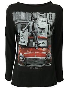 Lie Elasthanne Longues Noir Femme Shirt Lafty Manches Fabriqu 95 5 Coton T 7qvpwvd