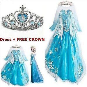 Robe-Deguisement-Costume-La-Reine-des-Neiges-Frozen-Elsa-Anna-Enfant-couronne