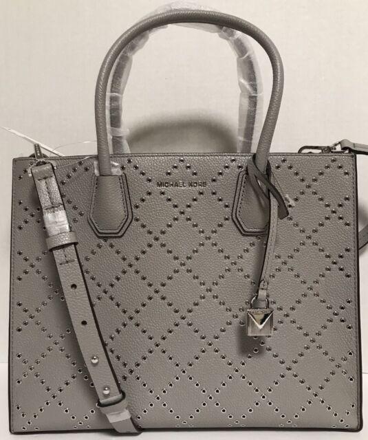 c4b1862c1bfe NEW Michael Kors Large Mercer Stud & Grommet Grey Leather Tote Handbag $378