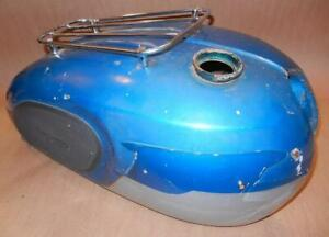 1966-era-Triumph-TR6R-650cc-large-size-steel-gas-fuel-tank-with-rack-USED-blue