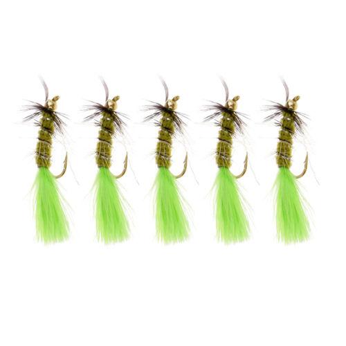 5 stücke grün messing perlenkopf streamer fliegenfischen fliegen