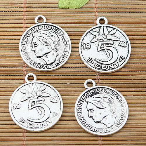 10pcs tibetan silver tone round 5CENTS coin design charms EF1966