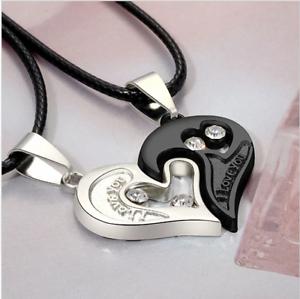 00429eb64c4a Detalles de Collar para mujer Colgante en Forma de Corazón Amor Moda párr  Joyería Acero Inoxidable- ver título original