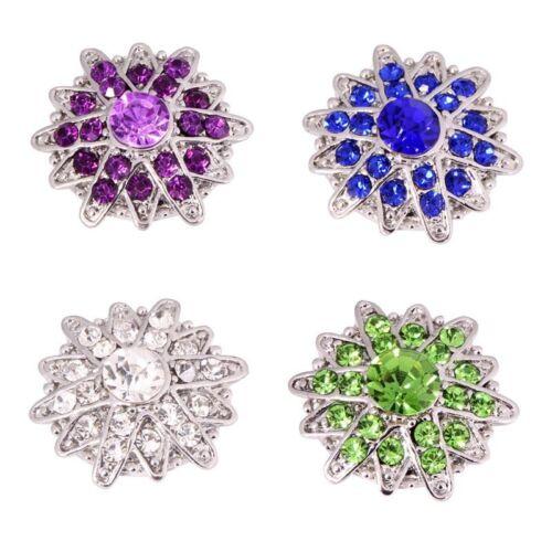 wholesales lot 4colors 18-20mm  Rhinestone FLOWER  snaps chunk buttons MDB18-46