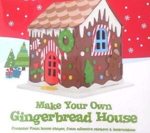 Christmas Gingerbread House Kit.Details About Christmas Craft Make Your Own Foam Gingerbread House Kit Kids Gift Xmas Filler