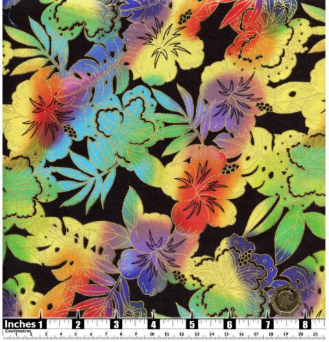 Quilting Fabric Rainbow Jungle Flowers Black BG Gold Fat Qs 100/% CottonBKF8