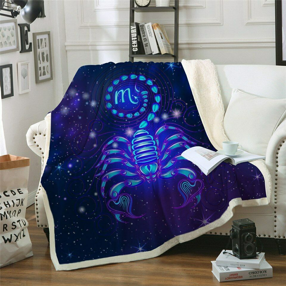 Blau Scorpion Galaxy Insect Sherpa Plush Throw Blanket Fleece Bed Sofa Couch