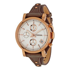 FOSSIL CHRONOGRAPH DATE SILVER DIAL GRAY LEATHER STRAP LADIES WATCH ES3818 NEW