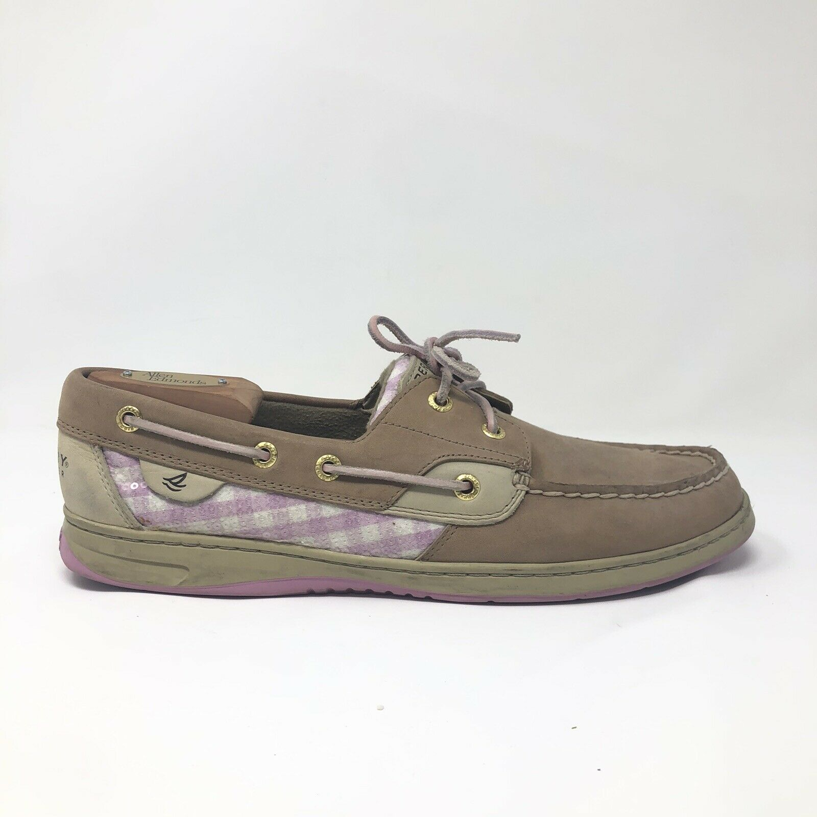 Sperry Top-Sider Women's Loafer Fish Boat Shoes Tan Suede Pink Sequin Sz 11 VGC