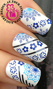 NAIL-ART-WRAP-WATER-TRANSFERS-STICKERS-DECALS-DECORATION-SET-BLUE-FLOWER-137