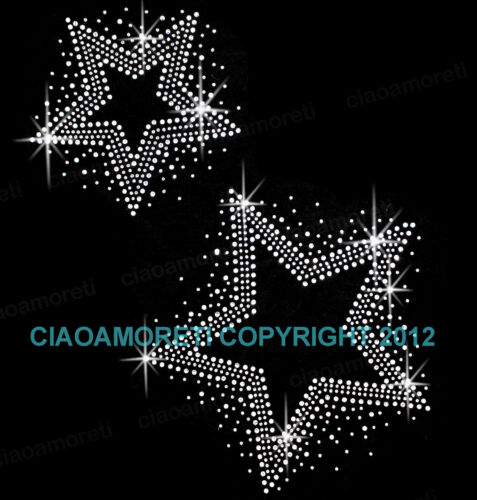 two stars clear rhinestone iron on hotfix transfer BUY 3 GET 1 FREE