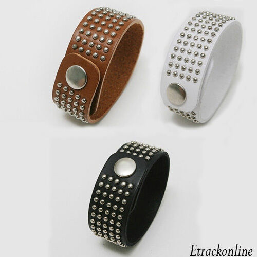 Women Faux Leather Rock Studs Rivet Cuff Wristband Punk Bangle Vintage Bracelet