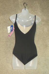 GK-Elite-Sportswear-Black-Cami-Leotard-Leo-DB101-Size-AL-L-Large-Adult