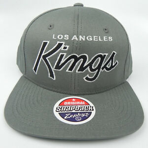 8be826761 LOS ANGELES KINGS GRAY NHL VINTAGE SCRIPT SNAPBACK RETRO 2-TONE Z ...