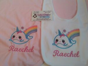Rainbow Baby Girl Personalized Baby Infant Blanket /& Bib Set