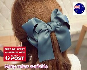 Girls Women Navy Blue Bow Ribbon School color Hair head Pin Comb Clip barrette