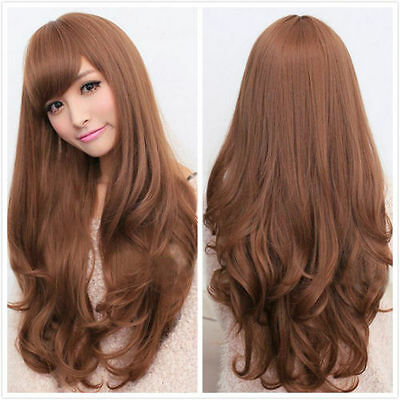 75cm Long Curly Women's Fashion Light Brown Cosplay Fancy Dress Wigs