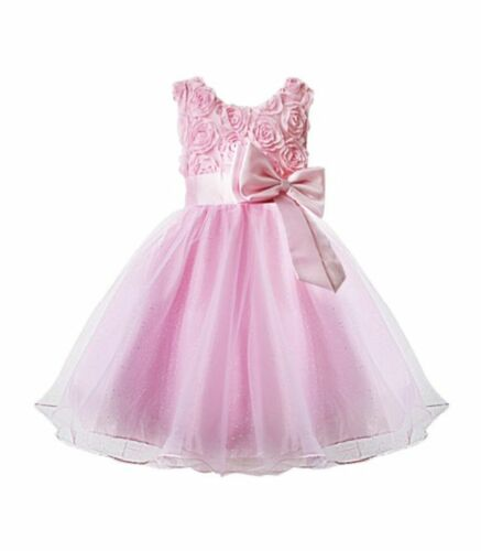 Girls bridesmaid dress baby flower children party rose bow wedding dress princes