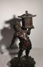 Antique Japanese Bronze Statue Figure Oni Censer Temple Painted Tentoki Demon