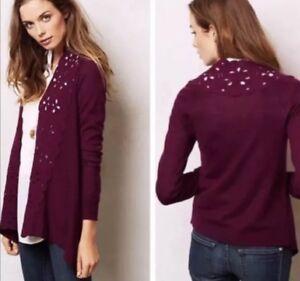 Anthropologie-Cora-Cardigan-Size-Medium-Purple-Wool-Laser-Cut-Out-Sweater