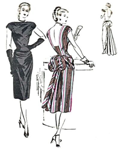 #135 1950 DRAPED DRESS WITH BACK BUSTLE  PATTERN