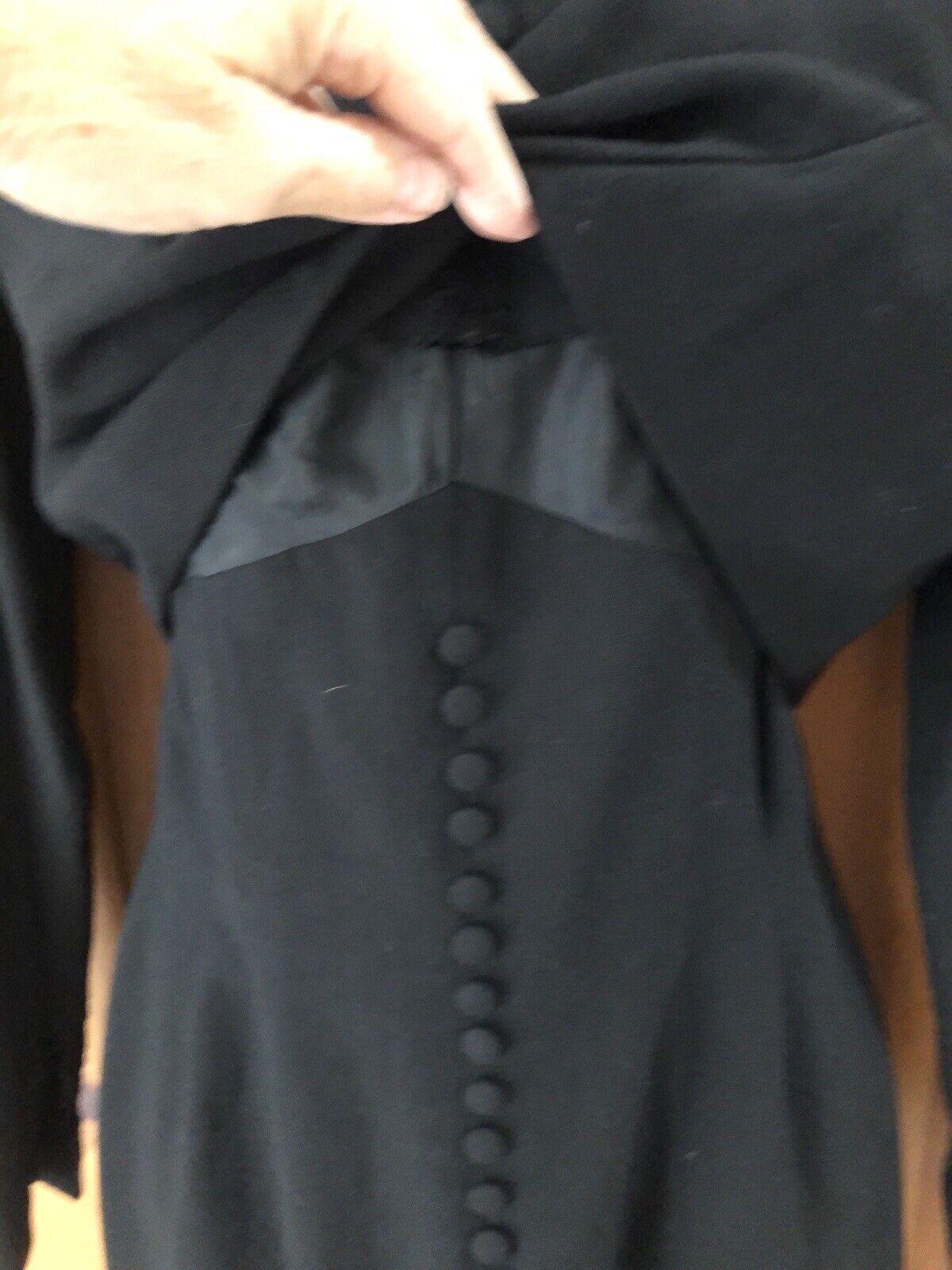 Travilla vintage 60s/70s black wool crepe dress s… - image 5