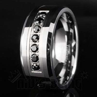 8mm Tungsten Carbide Simulated Black Diamond Silver Wedding Band Bridal Ring