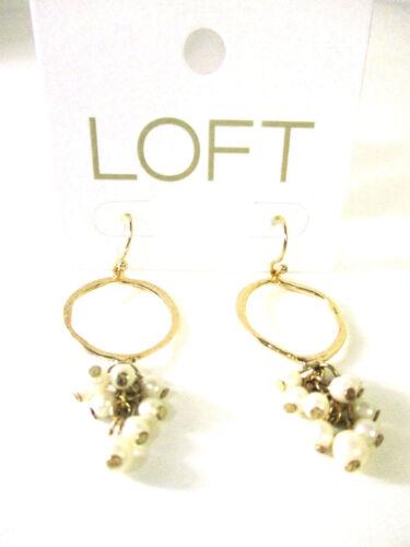 Ann Taylor LOFT Pearlized Drop Hoop Pearl Orbit Earrings NWT $29.50