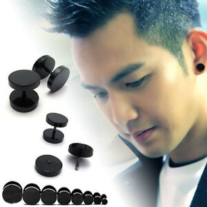 Image Is Loading Fashion Black Stainless Steel Plug Glossy Ear Stud