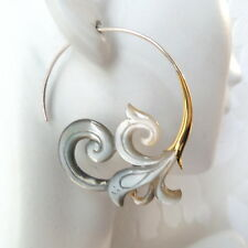Carved Waves Gray Shell .925 Sterling Silver Hook Tribal Earrings Boho Jewelry