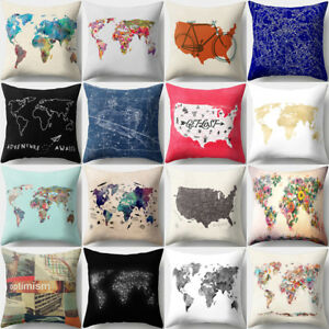Modern world map square throw pillow case sofa cushion cover home image is loading modern world map square throw pillow case sofa gumiabroncs Gallery