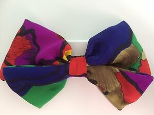 Silky-Fabric-Multicolour-5-034-ins-Hair-Double-Bow-Alligator-Clip