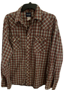WRANGLER-MEN-S-LONG-SLEEVE-SNAP-BUTTON-FRONT-WESTERN-STYLE-SHIRT-SIZE-XL