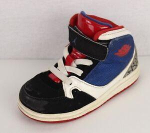 regarder 38ae9 656c9 Détails sur Nike Air Jordan Enfants Cuir Basketball Bleu Noir Taille Rouge  7C