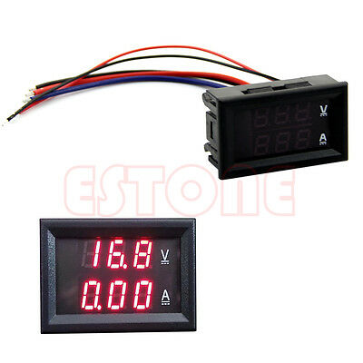 LED Panel Amp Dual Digital Volt Meter Gauge Voltmeter Ammeter DC 100V 10A Red