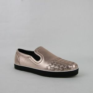 df091ba92354 Image is loading Bottega-Veneta-Women-Intrecciato-Rose-Gold-Leather-Slip-