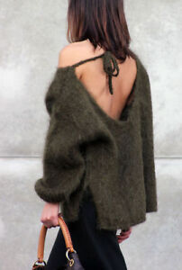 New Zara Khaki Mohair Jumper Sweater Top With Back Tie Top
