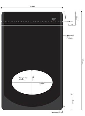 Sammlung Hier 100 Standbodenbeutel, Doypack /beutel Mit Zipper, 290x180x90mm, Schwarz Matt