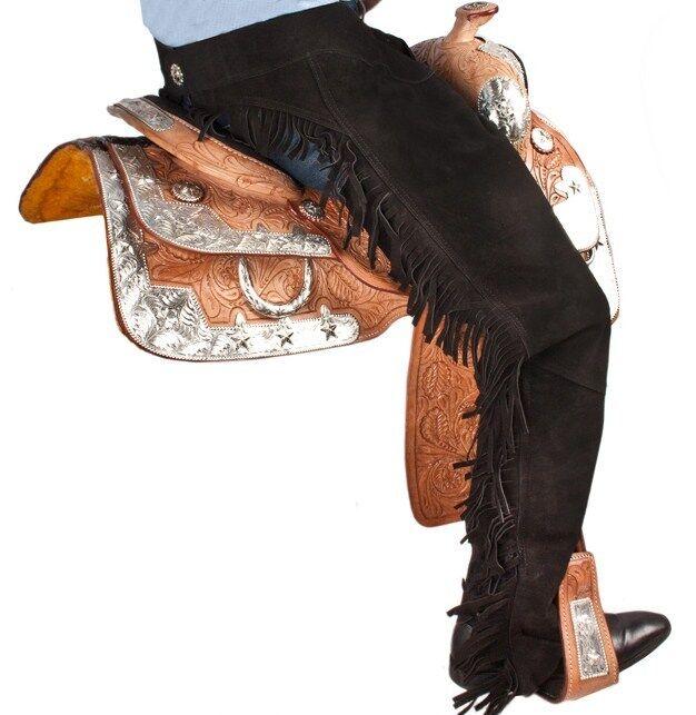 Silla De Montar  De Cuero Gamuza Negra caballo occidental mostrar Chaps con flecos de tamaño extra grande  calidad oficial