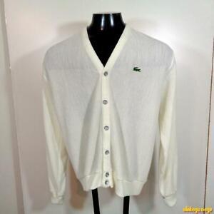 f5c1d9d52c34a Details about vtg 80s IZOD LACOSTE USA Orlon Acrylic Cardigan Sweater  Jacket Mens Size L Ivory