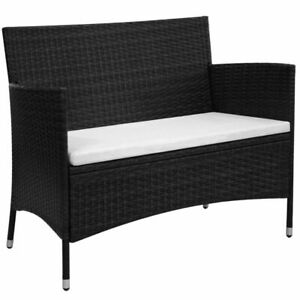 vidaXL-Garden-Bench-Poly-Rattan-Wicker-Black-Outdoor-Seat-Chair-Patio-Dining