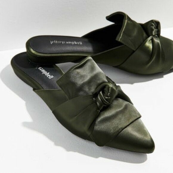 Jeffrey Campbell Olive Green Dello Satin Bow Mules Size 6 MSRP