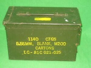 Details about Vintage Military Metal Ammunition Ammo Storage Case Box 1140  CTGS 5 56MM Blank