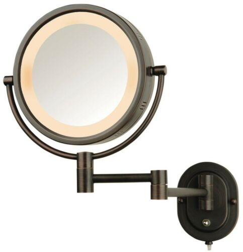 W Magnifying Swing Arm Wall Mount in Bronze L x 9 in Makeup Mirror 13 in