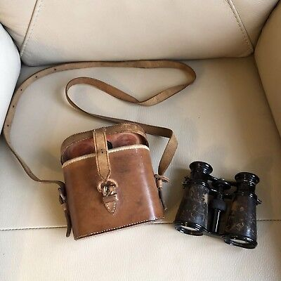 Cameras & Photo Vintage Wooden & Leather Binocular Case