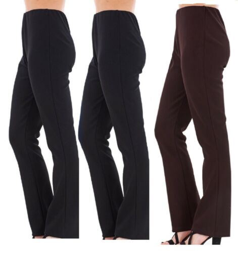 NEW LADIES PLUS BIG SIZE BOOTLEG STRETCH FINALLY RIBBED TROUSERS BLACK SIZE 8-26