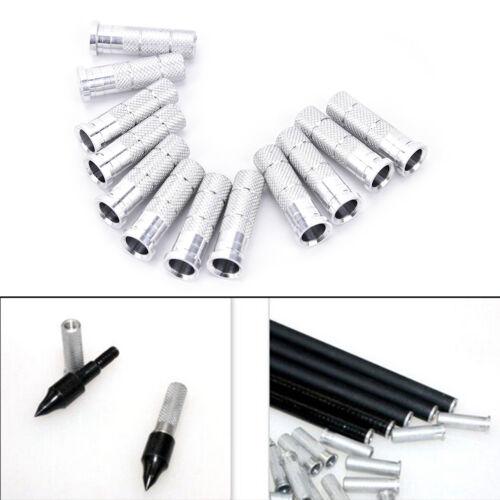 12x 6.2mm Silver Aluminum Archery Insert Base Replace for Arrow Shaft Practic/_ec